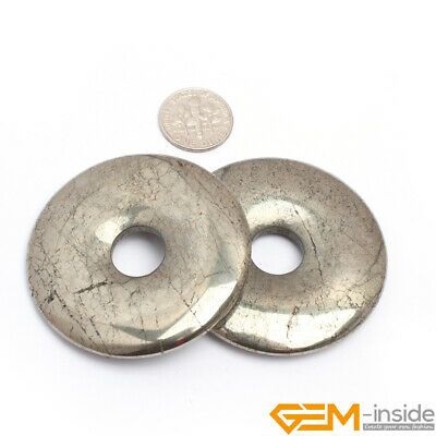Natural Pyrite Gemstone Round Donut Ring Pendant Beads 1 Pcs 30mm 40mm 50mm