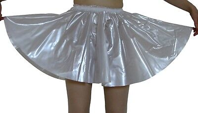 PVC Circle Skirt  Large PEARLY CLEAR  Plastic Vinyl Roleplay Sissy Flared Full