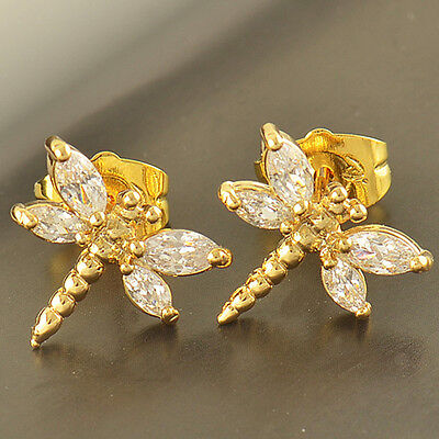 Child Girls Gold filled safety Hoop earrings Dragonfly crystal Infant earings