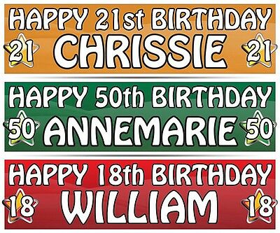 """2 PERSONALISED BIRTHDAY BANNER - ANY NAME  3ft - 36 """"x 11"""" 1st 18th 21st 30th"""