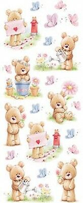 STICKER SHEET - Teddy and Flowers 722