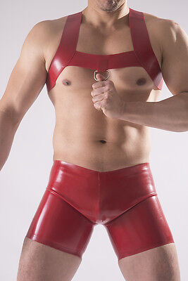 Rubber Upper CHEST HARNESS,  0.8 mm Heavy Weight Latex. D-ring on front strap