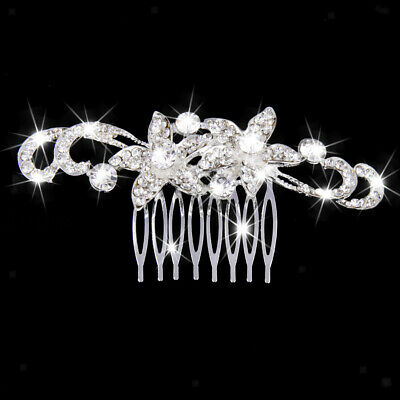 Women Bridal Wedding Crystal Rhinestone Flower Hair Clip Comb Pin Headband