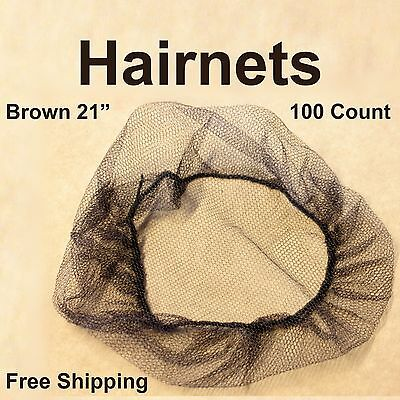 100 Disposable Food Service Hair Nets Spun Bonded Polypropylene Dark Brown