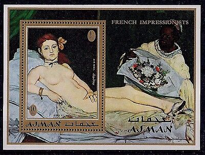 Ajman 1972 Olympia by Manet Paintings Art Nude m/s MNH