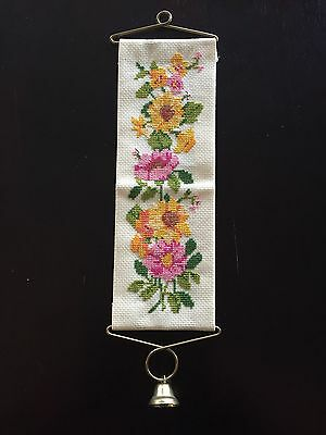 Vtg Cross Stitch Pink Yellow Floral Hanging Door Knob Ringer Bell Retro Handmade