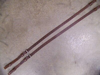LEATHER LUGGAGE STRAPS for LUGGAGE RACK/CARRIER~~(2) SET~~DARK BROWN~~S.S.BUCKLE