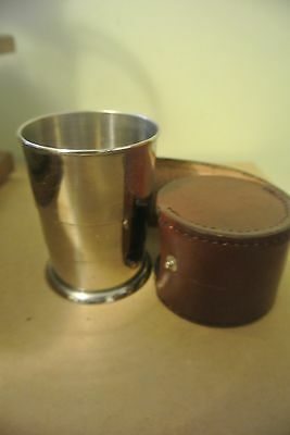 Antique Collapsable Metal Cup in Leather Case