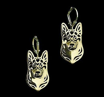 German Shepherd Dog Earrings-Fashion Jewellery Gold Plated, Leverback Hook
