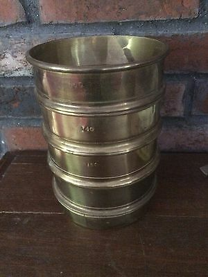 Vintage Set - 4 Brass Medical Scientific Test Sieves & Pans  Apothecary Pharmacy