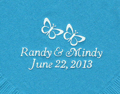 TWO BUTTERFLIES LOGO 50 Personalized printed cocktail beverage napkins wedding