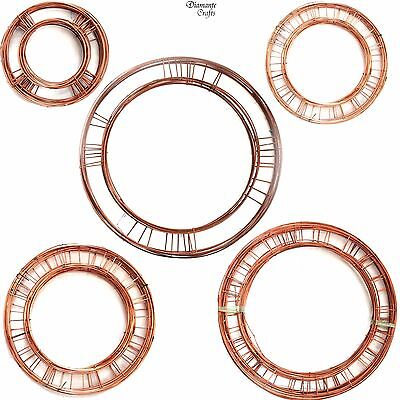 """Wreath Rings Flat Wire Copper Mossing Frame - Christmas Holly 8"""" 10"""" 12"""" 14"""" 16"""""""