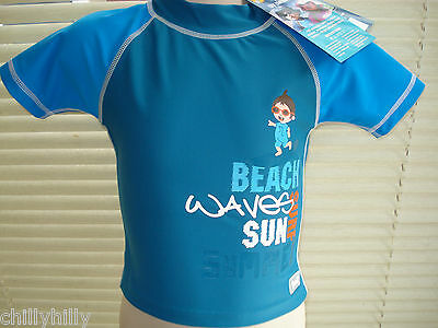 Banz Baby Boy Short Sleeved Rashie Top UPF50+ Blue Beachwear Many Sizes BNWT