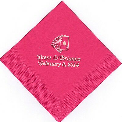 ROYAL FLUSH CARDS LOGO 50 Personalized printed LUNCHEON DINNER napkins wedding