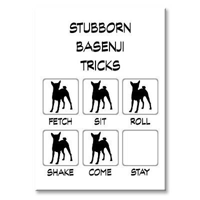 BASENJI Stubborn Tricks FRIDGE MAGNET Steel Case Funny