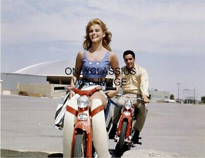 1964 Cool Elvis Presley Chases Sexy Ann Margret Honda Cub Motorcycle Photo Print