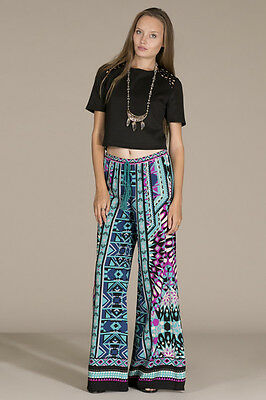 57ddfa4858b FLYING TOMATO TEAL Print Palazzo Pants -  29.00