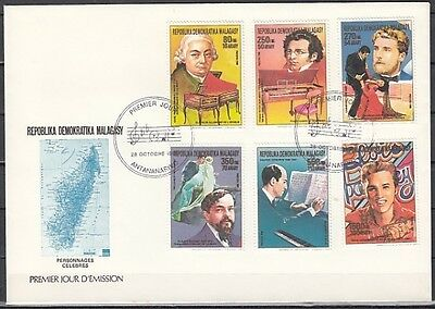 """"""" Malagasy Rep. 869-874. Composers and Elvis issue. First day cover."""