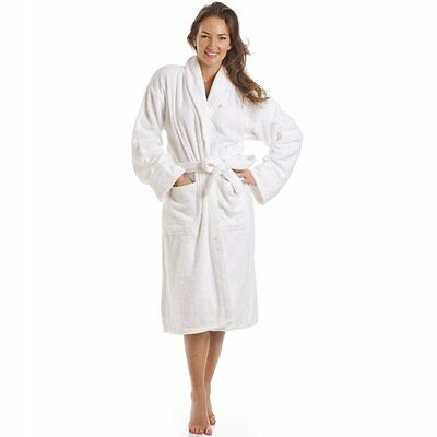 NEW WHITE 100% COTTON ONE SIZE SOFT MEN AND WOMEN TERRY TOWELING BATH ROBE x 863315349