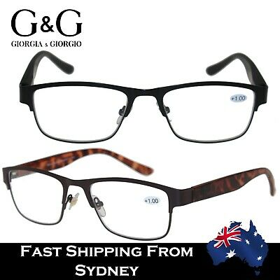 G&G Mens Spring Loaded Metal Frame MattFinish Plastic Arms Reading Glasses+1~3.5