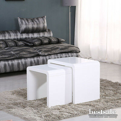 Modern High Gloss Nest of 2 White Coffee Table Nested Side Table Living Room