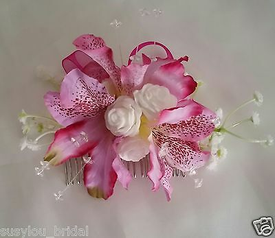 PINK Alstromeria Handcrafted Hair Comb Bride Bridesmaids Artificial White Roses