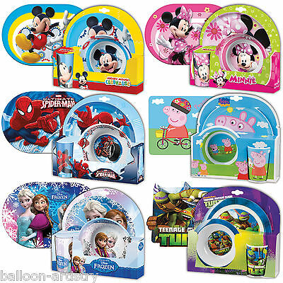 Children's Characters Melamine Tableware Set (Bowl, Cup, Plate) + Place Mat Kids