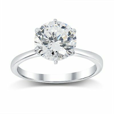 2.61  Ct E/si2  Round Diamond Solitaire Engagement  Ring 14 K White Gold