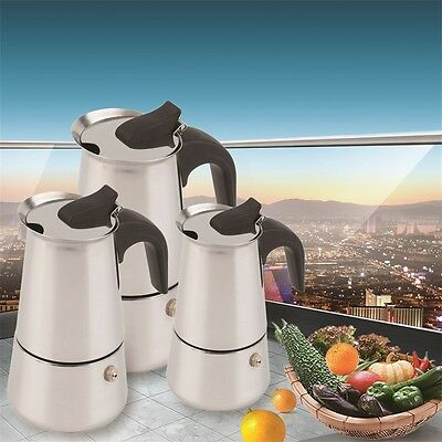 2/4/6-Cup Percolator Stove Top Coffee Maker Moka Espresso Latte Stainless Pot PY
