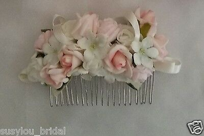 Handcrafted Hair Comb Bride Bridesmaids Artificial Light Pinks & Ivory Roses