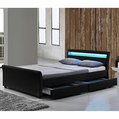 s kunstlederbett designbett ehebett doppelbett bettkasten schubladenbett 140x20 eur 129 99. Black Bedroom Furniture Sets. Home Design Ideas