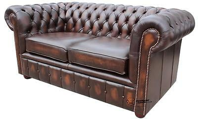 New Chesterfield 2 Seater Sofa Settee Antique Brown Real Leather Couch