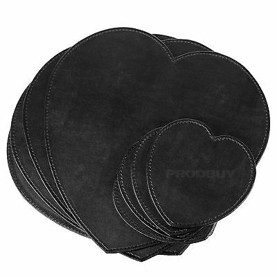 Set of 4 Placemats & Coasters Faux Leather Heart Shape Table Place Settings Mats