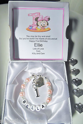 Baby 1st first Birthday bracelet daughter niece granddaughter present gift boxed