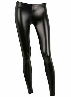 Ladies PVC Black Faux Leather Leggings Wet Look Shiny Stretchy Tight Pant