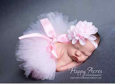 Newborn Headdress flower+Tutu Clothes Skirt Baby Girls Photo Prop Outfits