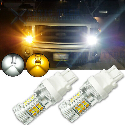2x 31-SMD LED 3157 4157 White Amber Switchback Turn Signal DRL Parking Bulbs