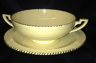 Crown Ducal Crd152 Cream Soup Bowl & Saucer Beige With Black Dots Beads On Rim