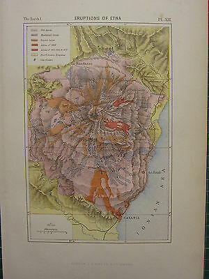 1886 Antique Map ~ Eruptions Of Etna Lavas Volcanic Craters Randazzo