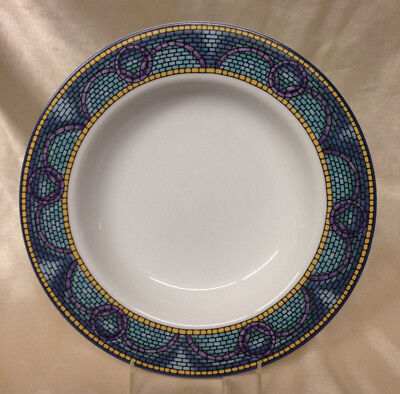 "Newcor Fine Porcelain Medea Rim Soup Bowl 9 1/8"" Blue & Purple Mosaic Tiles"