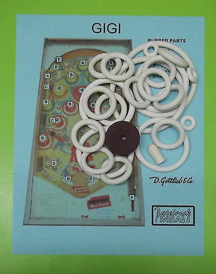 1963 Gottlieb Gigi pinball rubber ring kit