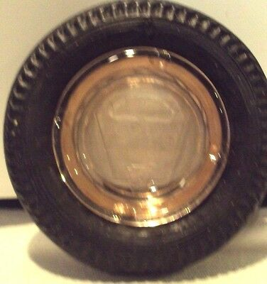 Vintage Pennsylvania Patrician Tire Ashtray With Cranberry Glass Insert