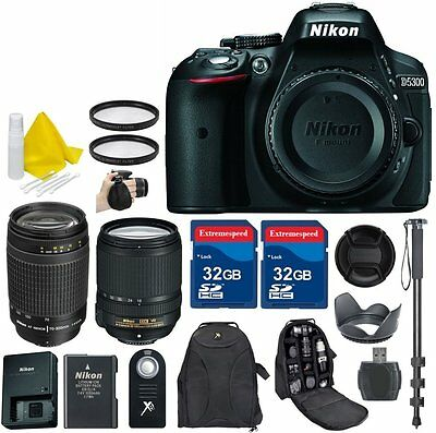Nikon D5300 24.2 MP CMOS Digital SLR Camera + 18-140mm VR Lens + 70-300mm G