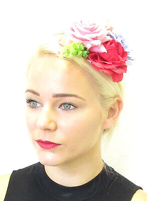 Red Lilac Pink Ivory Rose Flower Fascinator Hair Clip Floral 1950s Races Vtg 102