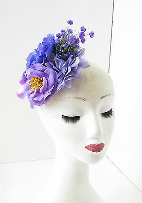 Purple Lilac Rose Peony Flower Fascinator Hair Clip Rockabilly Races Vintage 103