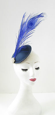 Royal Navy Blue Peacock Feather Fascinator Headpiece Ivory Hair Clip Vintage 107