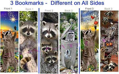 3 FUN-RACCOON BOOKMARK Forest Wild Animal Book Mark Card Art Figurine Ornament