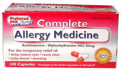 Diphenhydramine 25Mg ( Generic Benadryl ) Bottle Of 100 Free Shipping