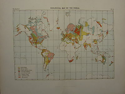 1886 Antique Map ~ The World Geological Rocks Igneous Chalk & Jurassic