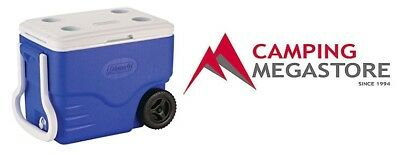 COLEMAN 38 LITRE 59 cans WHEELED COOLER-Lid with 4 cup holders